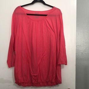 Women's Plus Size Pink 3/4 Sleeve Blouse